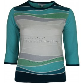 Teal Abstract Three Quarter Sleeve Jumper
