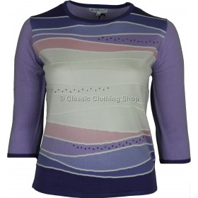 Lilac Abstract Three Quarter Sleeve Jumper