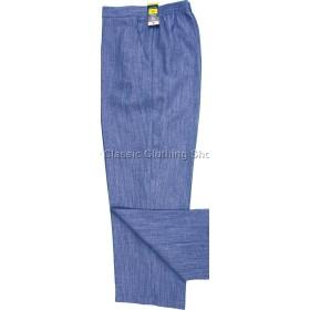 Blue Linen Look Trousers