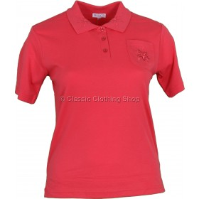 Coral Polo T-Shirt Top