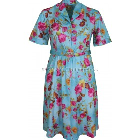 Aqua Floral Short Sleeve Dress