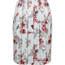 Coral Floral Full Elastic Pleated Print Skirt