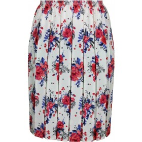 Red & Cream Floral Full Elastic Pleated Print Skirt