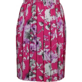 Lilac & Pink Floral Full Elastic Pleated Print Skirt