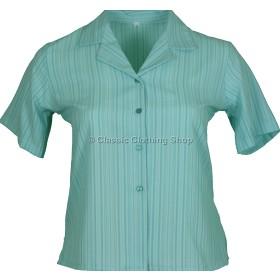 Aqua Stripe Searsucker Short Sleeve Blouse