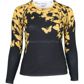 Mustard Butterfly Round Neck Long Sleeve Jumper