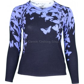 Blue Butterfly Round Neck Long Sleeve Jumper