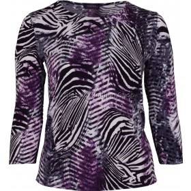 Plum & Black Abstract Printed Slinky Top