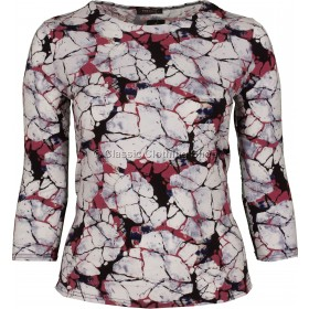 Red & White Abstract Printed Slinky Top