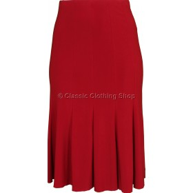 Red Plain Lined Panelled Skirt