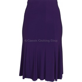 Plum Plain Lined Panelled Skirt