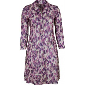 Fuchsia Floral Abstract Long Sleeve Tie Back Dress