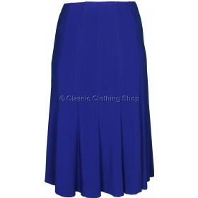 Royal Blue Plain Lined Panelled Skirt
