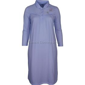 Blue Fleurette Long Sleeve Nightdress