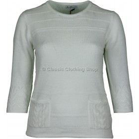 White Plain Three Quarter Sleeve Jumper