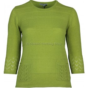 Lime Plain Three Quarter Sleeve Jumper