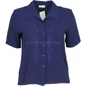 Navy Embroidered Waffle Short Sleeve Blouse