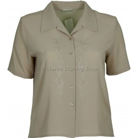 Taupe Embroidered Waffle Short Sleeve Blouse
