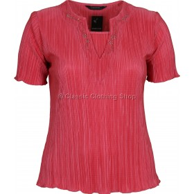 Coral Short Sleeve Plisse Top
