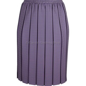 Lilac Check Box Pleated Elasticated Skirt