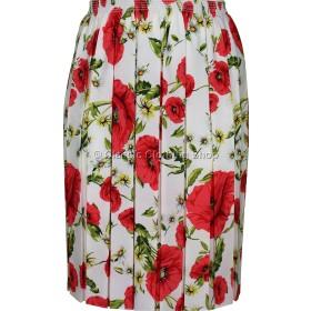 Red Floral Full Elastic Pleated Print Skirt