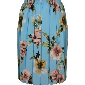 Aqua Floral Full Elastic Pleated Print Skirt