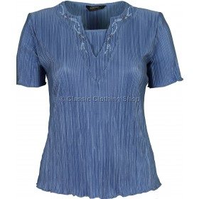 Deep Blue Short Sleeve Plisse Top