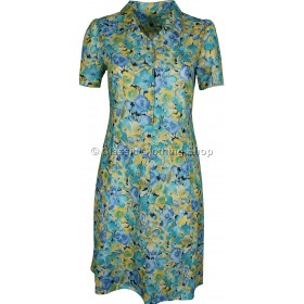 Turquoise Floral Short Sleeve Tie-Back Dress