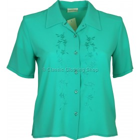 Spearmint Embroidered Waffle Short Sleeve Blouse