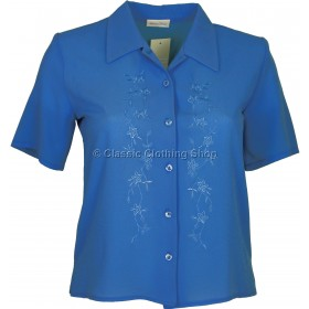 Royal Blue Embroidered Waffle Short Sleeve Blouse