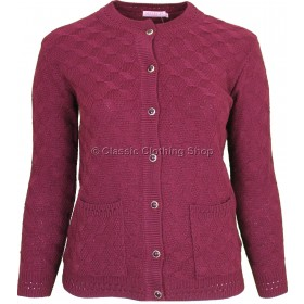 Wine Round Neck Cable Cardigan