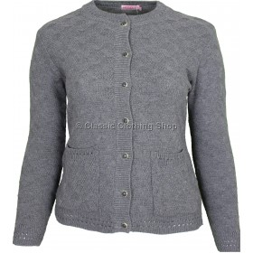 Grey Round Neck Cable Cardigan