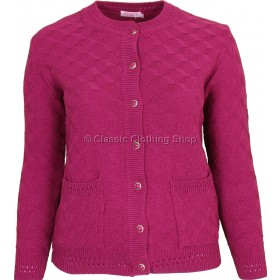 Berry Round Neck Cable Cardigan