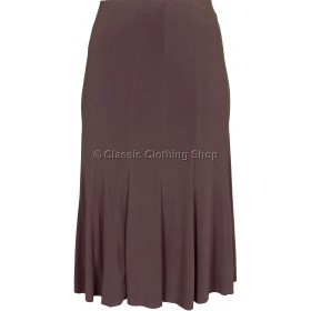 Brown Plain Lined Panelled Skirt