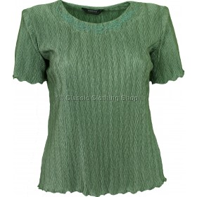 Sage Green Short Sleeve Plisse Top