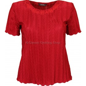 Red Short Sleeve Plisse Top