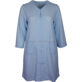 Blue Zip Through Waffle Housecoat / Dressing Gown