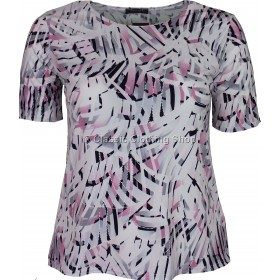 Pink Abstract Printed Slinky Top