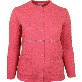 Coral Round Neck Cable Cardigan