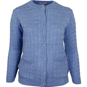 Blue Round Neck Cable Cardigan