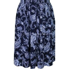 Navy & White Paisley Printed Skirt