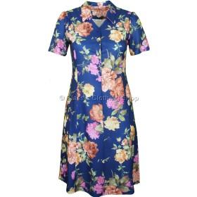 Navy Floral Short Sleeve Tie-Back Dress