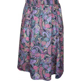 Pink Paisley Printed Panelled Skirt